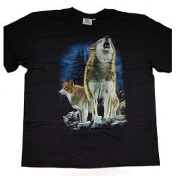 Tričko pro dospělé - vlci vyjící, černá