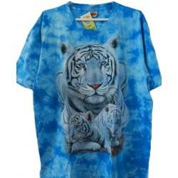 Tričko pro dospělé - tygr bílý s mláďaty, modrá b