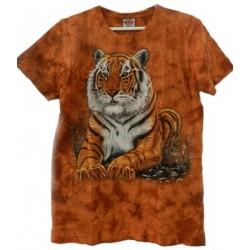 Tričko pro dospělé - tygr hnědý ležící, hnědá b