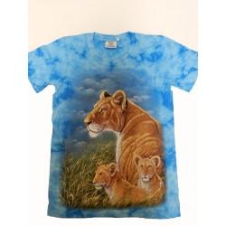 Tričko pro dospělé - lvice s mláďaty, modrá b
