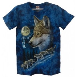 Tričko pro dospělé - vlk a měsíc, modrá b
