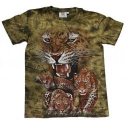Tričko pro dospělé - levharti, zelená b