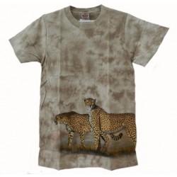 Tričko pro dospělé - gepardi vzor dole, béžová b