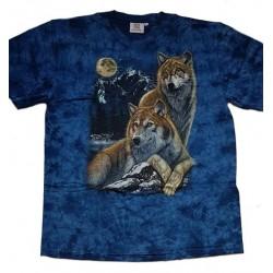 Tričko pro dospělé - vlci, modrá b