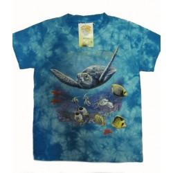 Tričko pro děti - želva, modrá batika