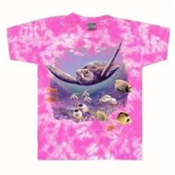 Tričko pro děti - želva, růžová batika