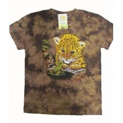Tričko pro děti - levhartí mládě, hnědá batika