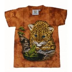 Tričko pro děti - levhartí mládě, oranžová batika