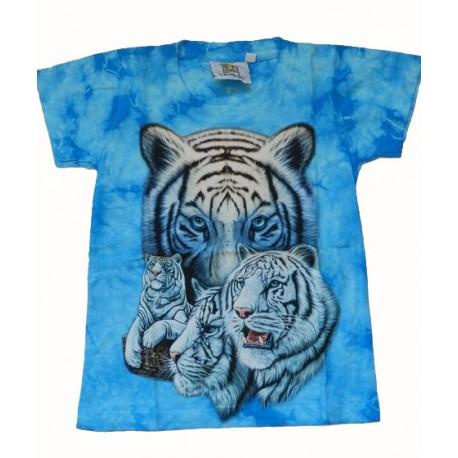Tričko pro děti - bílý tygr, modrá batika
