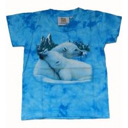 Tričko pro děti - lední medvěd, modrá batika