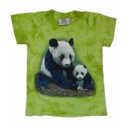 Tričko pro děti - pandy, zelená batika