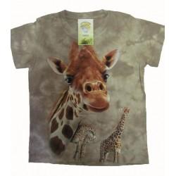 Tričko pro děti - žirafa, béžová batika