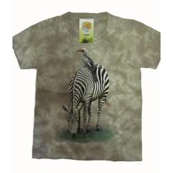Tričko pro děti - zebra, béžová batika