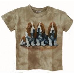 Tričko pro děti - pes baset, béžová batika