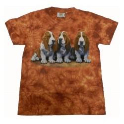 Tričko pro děti - pes baset, oranžová batika