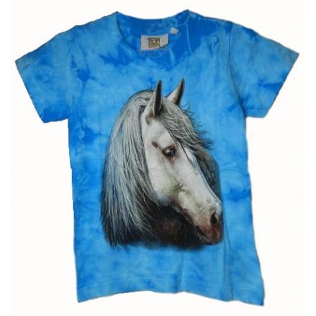 Tričko pro děti - kůň bílý, modrá batika