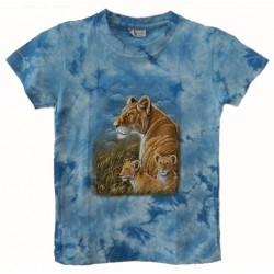 Tričko pro děti - lvice s mláďaty, modrá batika