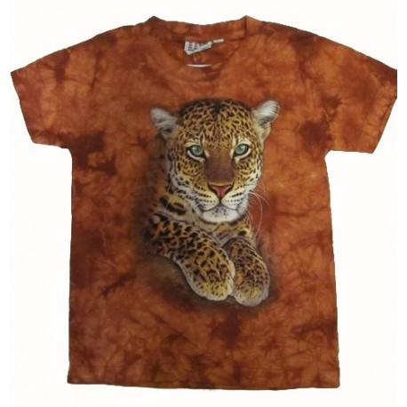 Tričko pro děti - levhart, oranžová batika