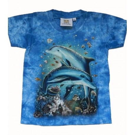 Tričko pro děti - moře, modrá batika