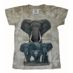 Tričko pro děti - sloni, béžová batika