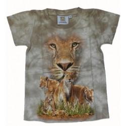 Tričko pro děti - lvice, béžová batika