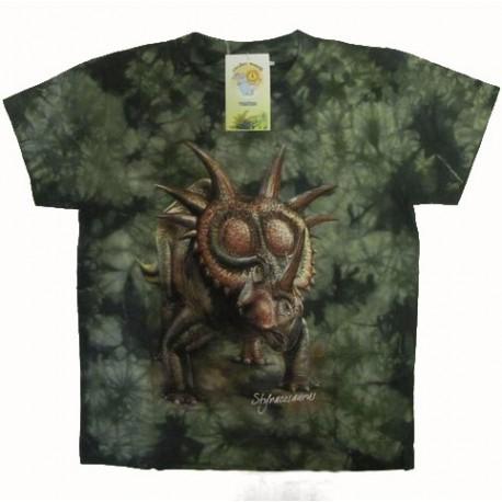 Tričko pro děti - styrakosaurus, zelená batika