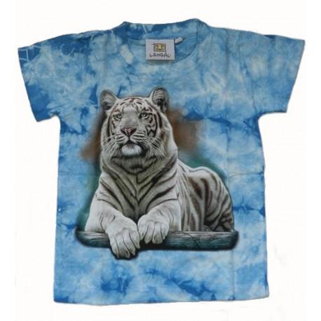 Tričko pro děti - bílý tygr ležící, modrá batika