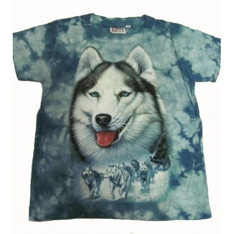 Tričko pro děti - pes husky, modrá batika