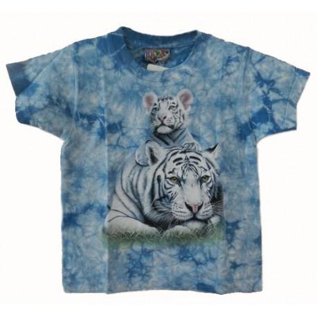 Tričko pro děti - bílý tygr ležící s mládětem, modrá batika