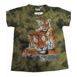 Tričko pro děti - tygr hnědý s mládětem, zelená batika