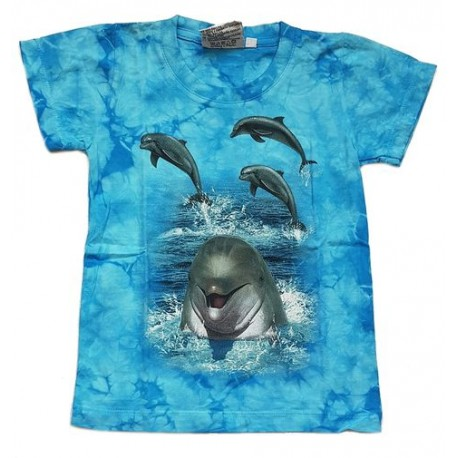 Tričko pro děti - delfín, modrá batika