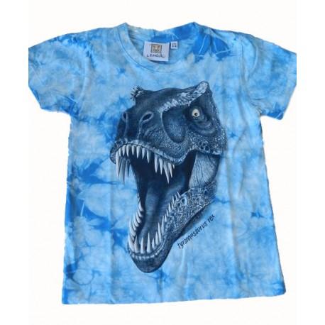 Tričko pro děti - T-Rex hlava, modrá batika