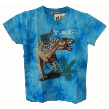 Tričko pro děti - T-Rex, modrá batika