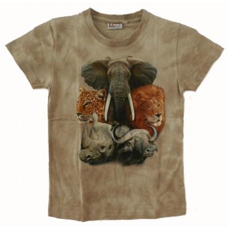 Tričko pro děti - Big 5, béžová batika
