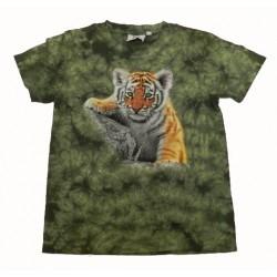 Tričko pro děti - tygr hnědý mládě, zelená batika