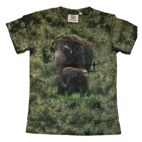 Tričko pro děti - sloni, zelená batika