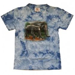 Tričko pro děti - sloni, modrá batika