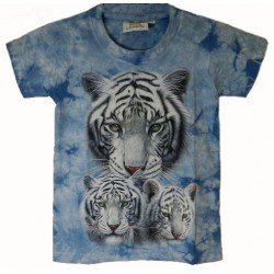 Tričko pro děti - bílý tygr hlava 3x, modrá batika