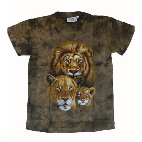 Tričko pro děti - lví rodina, zelená batika