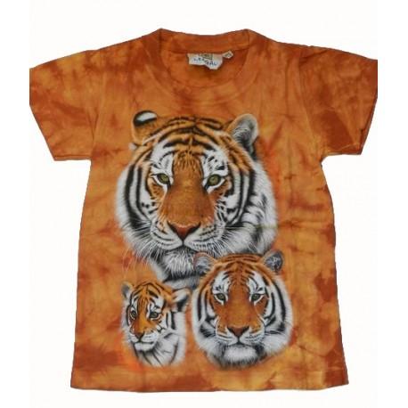 Tričko pro děti - tygr hnědý hlava 3x, oranžová batika