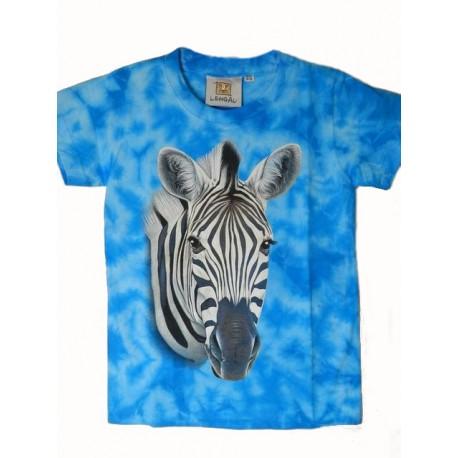 Tričko pro děti - zebra hlava, modrá batika