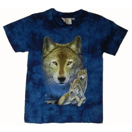 Tričko pro děti - vlk, modrá batika