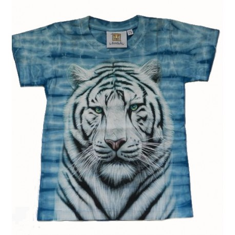 Tričko pro děti - bílý tygr hlava, modrá batika