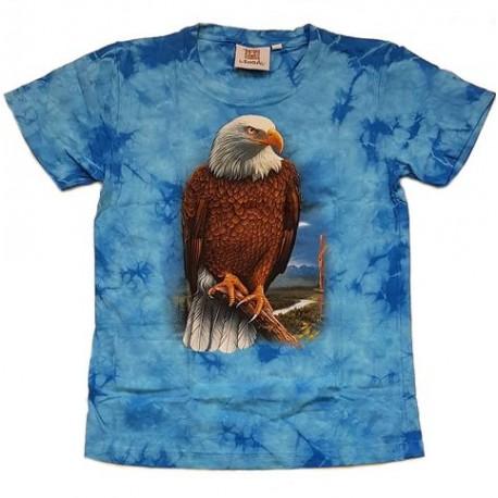 Tričko pro děti - orel, modrá batika