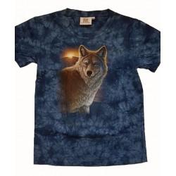 Tričko pro děti - vlk a západ slunce, modrá batika