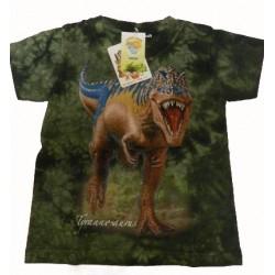 Tričko pro děti - T-Rex, zelená batika