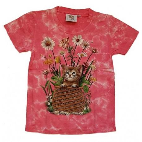 Tričko pro děti - kotě, růžová batika