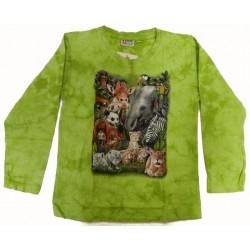 Tričko pro děti, dlouhý rukáv - safari, zelená batika