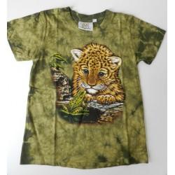 Tričko pro děti - levhartí mládě, zelená batika
