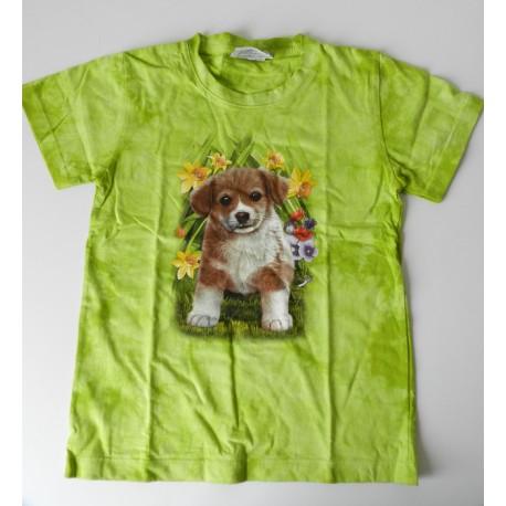 Tričko pro děti - pejsek, zelená batika